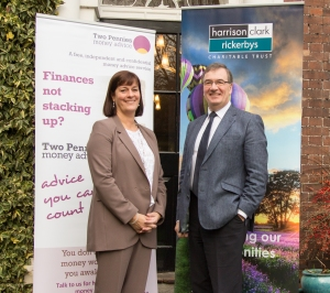 Karen McConnell, General Manager at Two Pennies Money Advice and Jonathan Brew, Senior Partner and Trustee of Harrison Clark Rickerbys' Charitable Trust